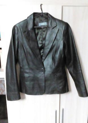 Пиджак натуральная кожа цвет черный шоколад размер 12 или 46