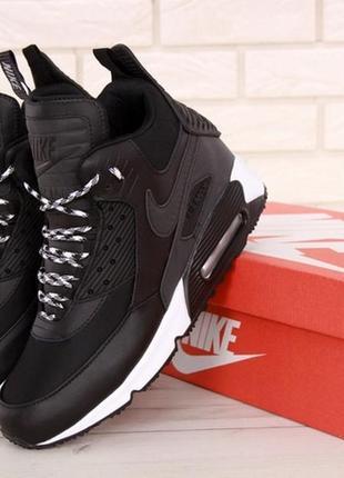 Мужские зимние кожаные кроссовки \ботинки найк nike air max 90...