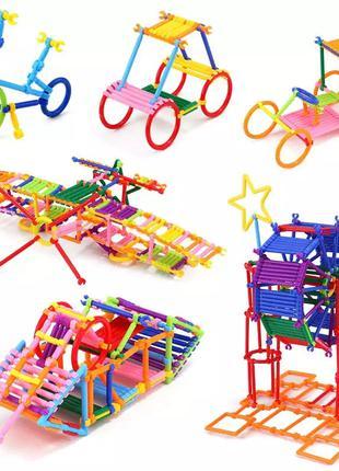 Детский конструктор Строительные палочки, 120 фигурок