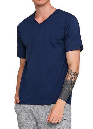 Мужская однотонная синяя хлопковая футболка корнет. cornette 2...