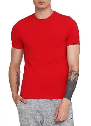 Мужская хлопковая красная эластичная однотонная футболка corne...
