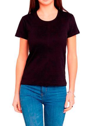 Женская однотонная черная хлопковая футболка с коротким рукаво...