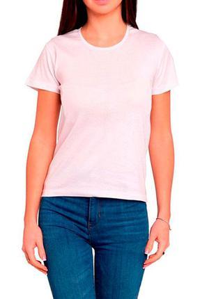 Женская белая однотонная хлопковая футболка с коротким рукавом...