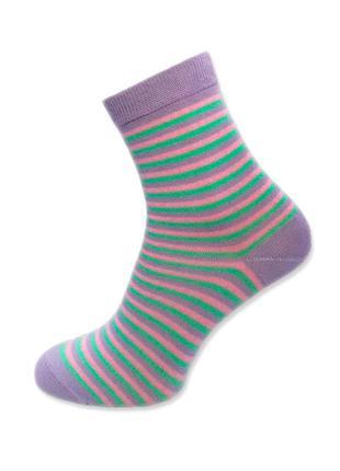 Женские высокие хлопковые сиреневые носки atlantic lsc 103