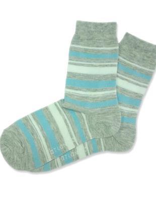 Женские высокие хлопковые голубые носки atlantic slc 190