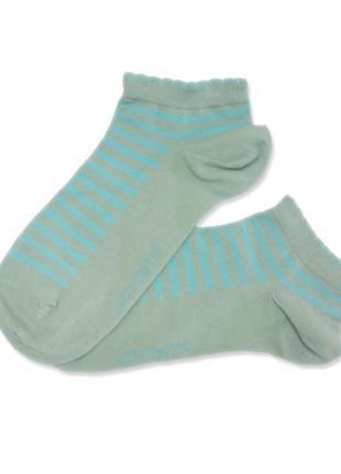 Женские укороченные хлопковые в голубую полоску носки atlantic...