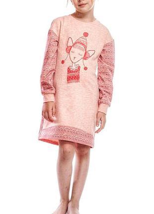 Хлопковая домашняя сорочка для девочки с длинным рукавом ellen