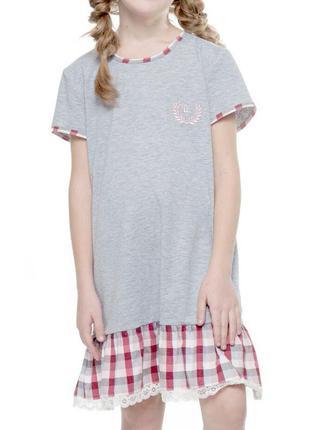 Домашняя серая хлопковая сорочка для девочки с коротким рукаво...