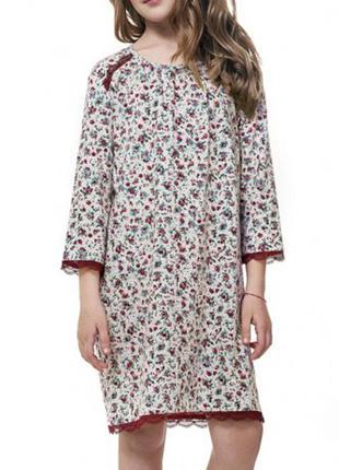 Домашняя хлопковая сорочка для девочки в бордовом цвете и с ру...
