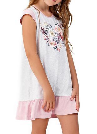 Домашняя хлопковая сорочка для девочки с коротким рукавом ellen