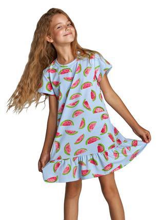 Домашняя хлопковая голубая сорочка для девочки с коротким рука...