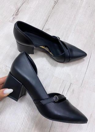 Туфли на удобном каблуке 6 см кожа замш