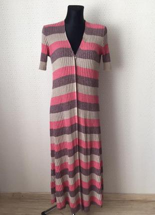 Очень классное трикотажное платье - халат  в рубчик от zara, р...