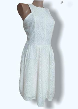 Бело кремовое кружевное платье сарафан с красивой спинкой