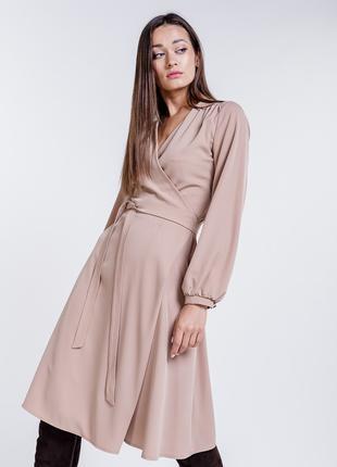 Платье на запах с длинным рукавом