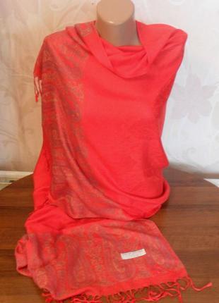 Красный палантин pashmina