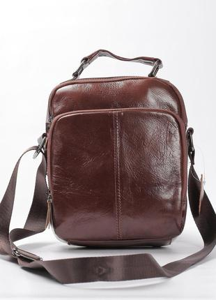 Стильная мужская кожаная сумка коричневая