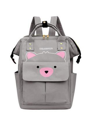 Сумка-рюкзак, мама-сумка, серый. мишутка.