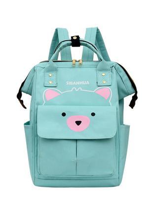 Сумка-рюкзак, мама-сумка, мятный. мишутка.