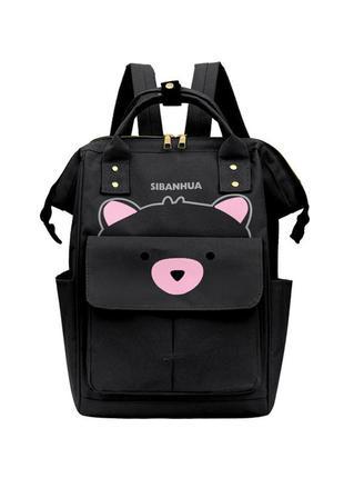 Сумка-рюкзак, мама-сумка, черный. мишутка.