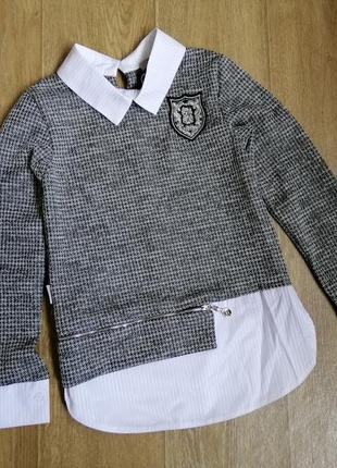 Кофточка-обманка реглан свитшот в школу