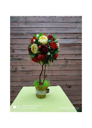 Топиарий с розами и конфетами. Цветочный топиарий.