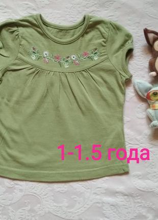 Туника / футболка с вышивкой на девочку 1-1.5 года