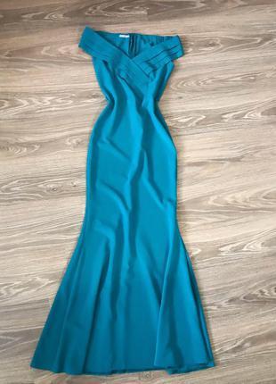 Вечернее платье в пол  силуэт рыбка голубое бирюзовое на плечи...