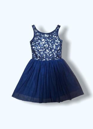 Нарядное платье с пайетками и пышной юбкой из фатина