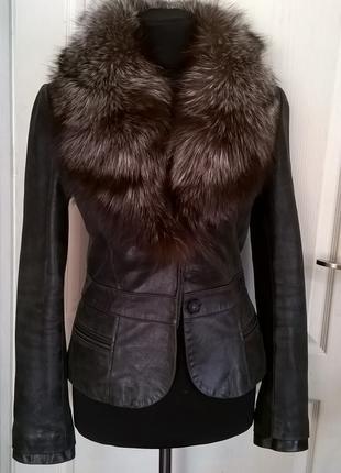 Куртка кожаная Pierre Cardin с мехом чернобурки раз. S/XS оригина