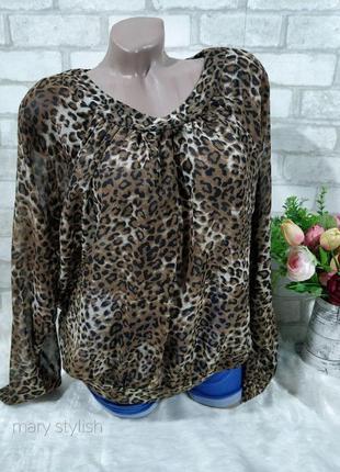 Эффектная модная блуза, животный принт леопардовый