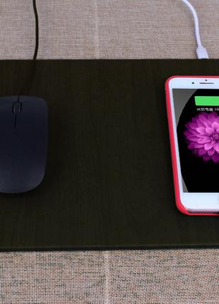 Коврик для мышки с беспроводной Qi зарядкой. iPhone, Android