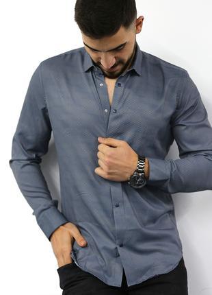 Мужская рубашка с длинным рукавом Rubaska Турция(80-17-804)