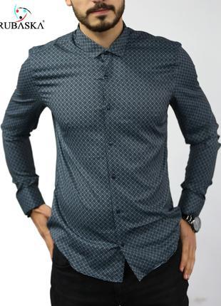Мужская рубашка с длинным рукавом Rubaska Турция(80-17-801)