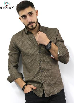 Мужская рубашка с длинным рукавом Rubaska Турция(77-17-801)