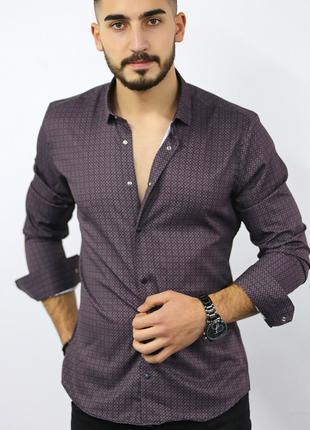 Мужская рубашка с длинным рукавом Rubaska Турция(75-17-801)