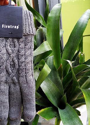 Перчатки вязаные мужские Firetrap серые Original