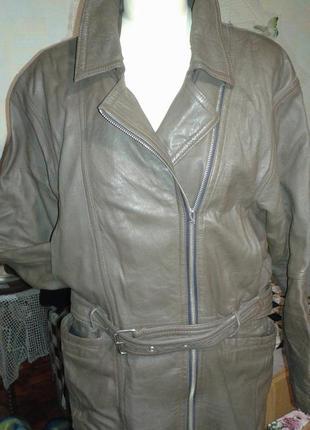 Куртка-косуха из натуральной кожи. утеплённая удлинённая. винт...