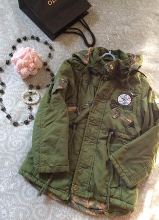 Куртка-парка на мальчика весна-осень цвет хаки размер 128
