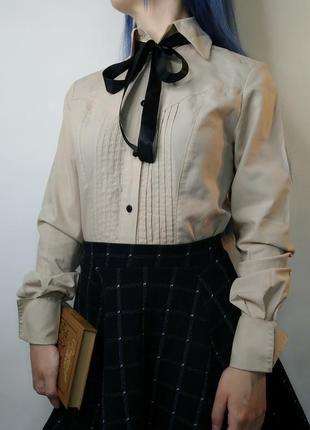 Распродажа! бежевая базовая рубашка /блузка от jozefine на уче...