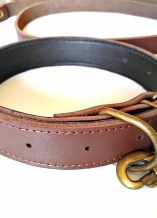 Кожаный поводок и ошейник для собак 40-60 кг