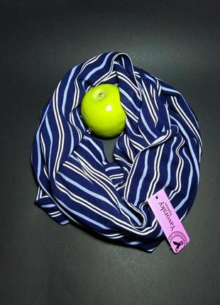 Снуд шарф снуд палантин синий в полоску подарок аксессуар укра...