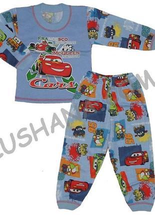 Детская пижама тачки с начесом