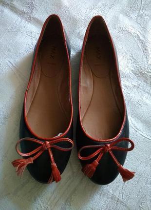 Max туфли балетки 100% кожа с терракотовым бантиком