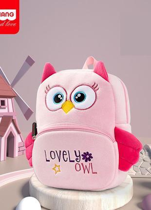 Велюровый рюкзак, розовый. милая сова.