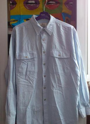 Рубашка мужская в полоску хлопковая на кнопках с длинным рукав...
