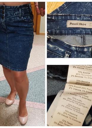 Джинсовая стрейчевая юбка new look pencil skirt