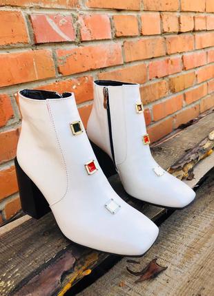 Хит-2020. кожаные демисезонные ботинки ботильоны с квадратным ...