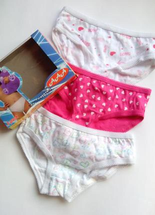 Трусики детские для девочек 3 шт. в наборе в подарочной упаков...