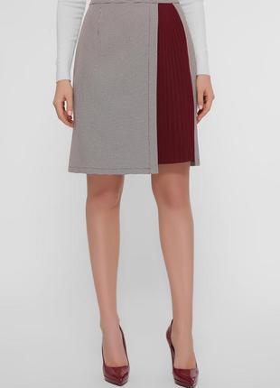 Короткая серая юбка с лапкой коричневое-бордо ♡